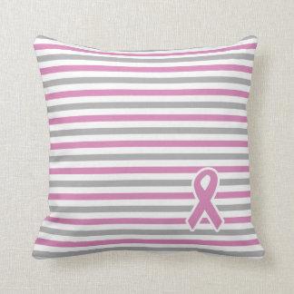 Pink & Silver Stripes custom throw pillow