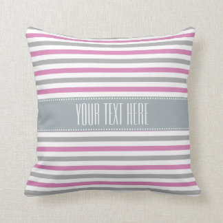 Pink & Silver Stripes custom throw pillows