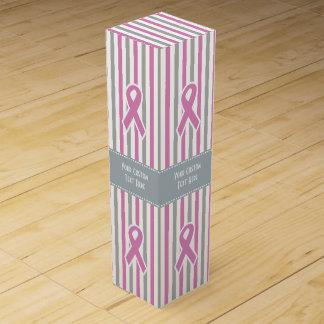 Pink & Silver Stripes custom wine gift box