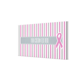 Pink & Silver Stripes custom wrapped canvas
