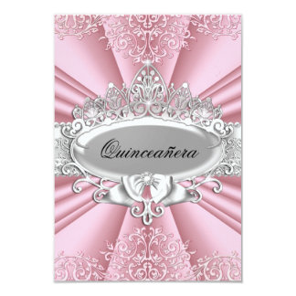 Pink/Silver Tiara & Damask Quinceanera 15th Party 9 Cm X 13 Cm Invitation Card