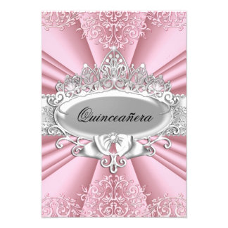 Pink Silver Tiara Damask Quinceanera 15th Party Personalized Announcements
