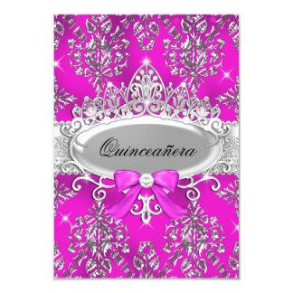 Pink Silver Tiara Damask Quinceanera Invite