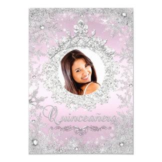 Pink Silver Tiara Snowflake Sparkle Quinceanera 13 Cm X 18 Cm Invitation Card