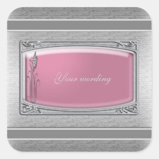 Pink silver vintage floral wedding square sticker