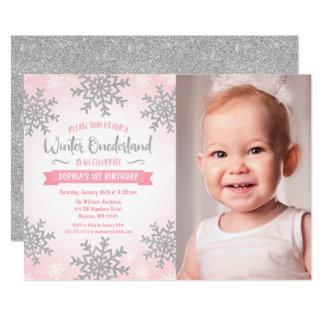 Pink Silver Winter ONEderland 1st Birthday Photo Card