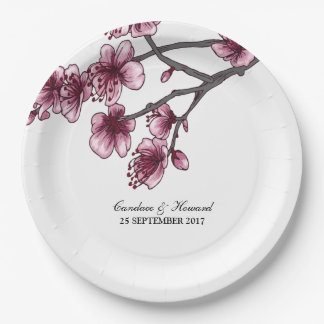 Pink Simple Cherry Blossoms Paper Plates 9 Inch Paper Plate