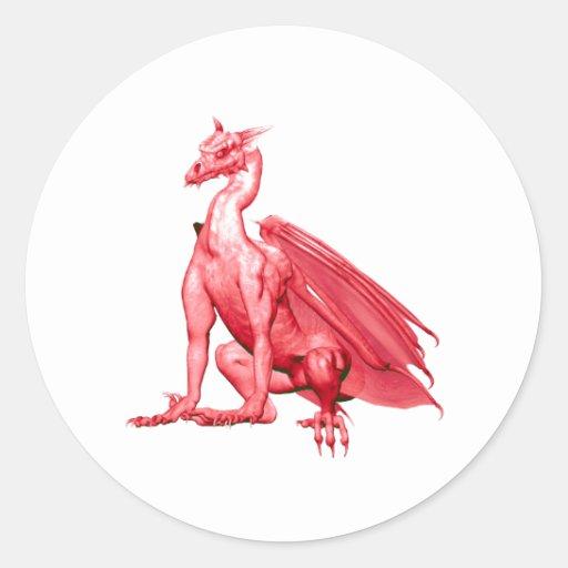 Pink Sitting Dragon Round Sticker