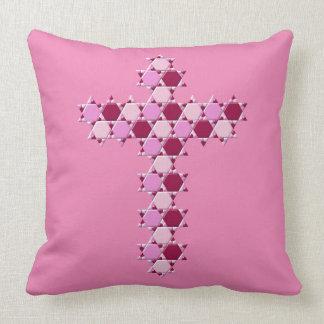 Pink Six Star Cross Optical Illusion Throw Pillow