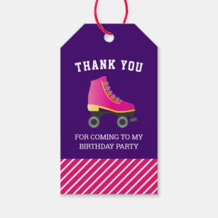 37f7a80a32b84 Pink Skate Roller Skating Birthday Party Favor Gift Tags