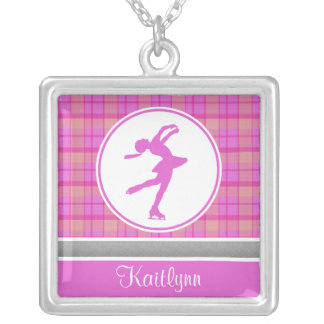 Pink Skating Sweetheart Plaid Square Necklace