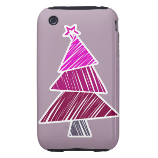 Pink Sketchy Christmas Tree 3G/3GS Case-Mate Tough iPhone 3 Cases