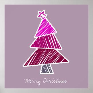 Pink Sketchy Christmas Tree Poster