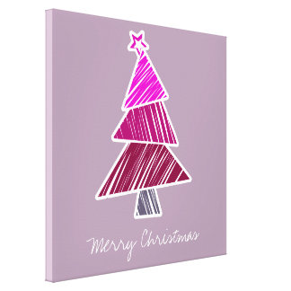 Pink Sketchy Christmas Tree Wrapped Canvas Canvas Prints