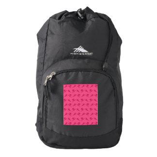 Pink ski pattern backpack
