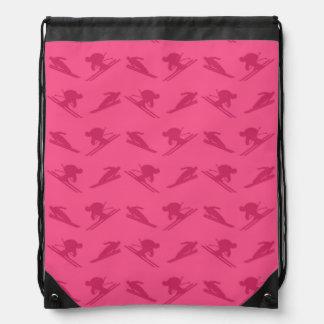 Pink ski pattern drawstring backpack