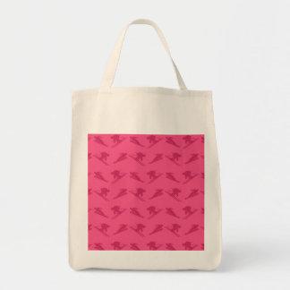 Pink ski pattern grocery tote bag