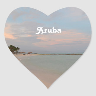 Pink Skies in Aruba Heart Sticker