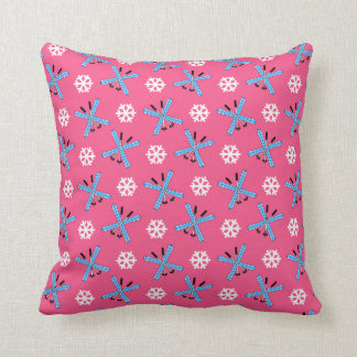 Pink skis and snowflakes pattern cushion
