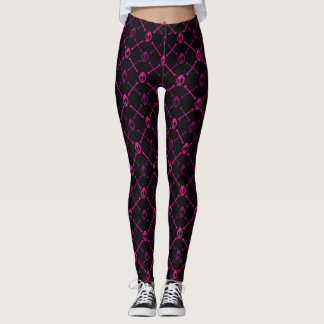 Pink Skull and Bones Leggings