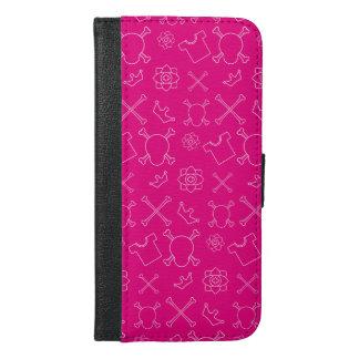 Pink Skull and Bones pattern iPhone 6/6s Plus Wallet Case