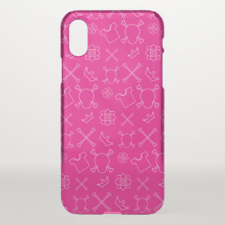 Pink Skull and Bones pattern iPhone X Case