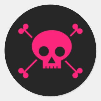Pink Skull and Cross Bones Round Sticker