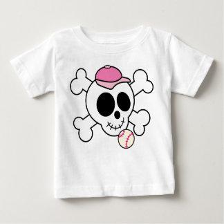 Pink Skull and Crossbones Baseball Baby T-Shirt