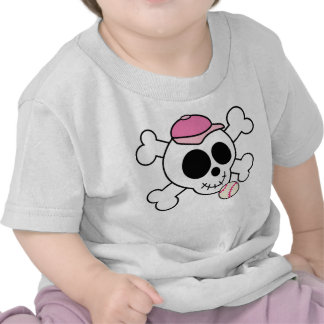Pink Skull and Crossbones Baseball T-shirt