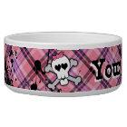 Pink Skull and Crossbones Custom Girl Big Dog Bowl