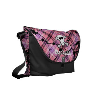 Pink Skull and Crossbones Personalized Book Bag Commuter Bag