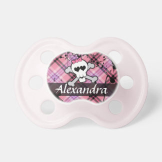 Pink Skull and Crossbones Rocker Chick Pacifier