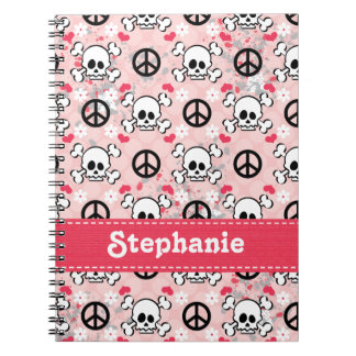 Pink Skull and Crossbones Spiral Notebook Journal