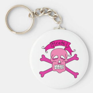 Pink Skull and Crossbones T-shirts and Gifts Key Ring