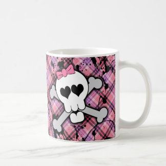 Pink Skull and Crossbones with Hearts and Bow Coffee Mug