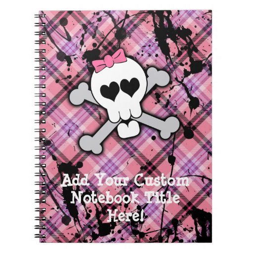 Pink Skull and Crossbones with Hearts and Bow Note Books