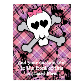 Pink Skull and Crossbones with Hearts and Bow Postcard