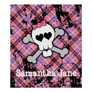 Pink Skull and Crossbones with Hearts and Bow Poster
