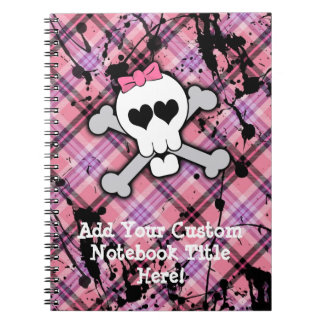 Pink Skull and Crossbones with Hearts and Bow Spiral Notebook