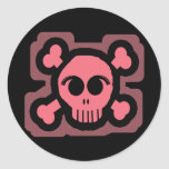 Pink Skull and Crossed Bones Round Sticker