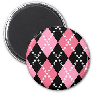 Pink Skull Argyle 6 Cm Round Magnet