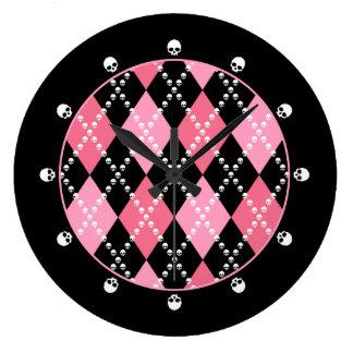 Pink Skull Argyle Round Wallclock