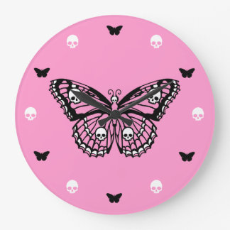 Pink Skull Butterfly Round Clock