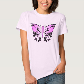 Pink Skull Butterfly T-shirts