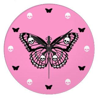 Pink Skull Butterfly Wall Clocks