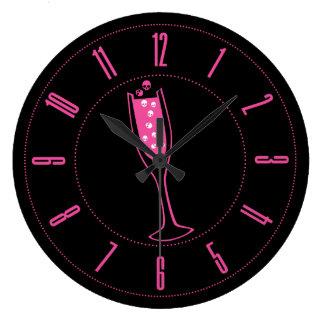 Pink Skull Champagne Round Clocks