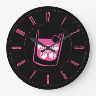 Pink Skull Cocktail Round Wall Clock