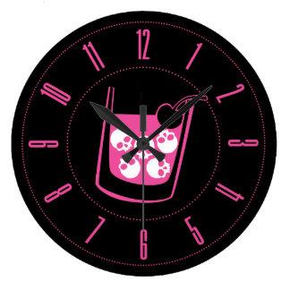 Pink Skull Cocktail Wall Clocks