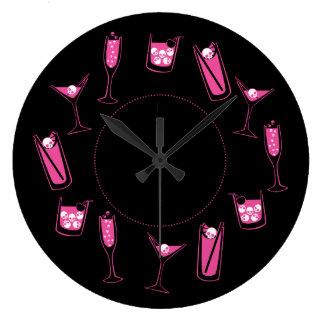 Pink Skull Cocktails Clock