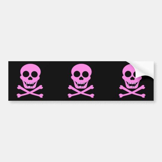 Pink Skull & Crossbones Bumpersticker Bumper Sticker